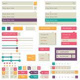 Projeto liso dos elementos, grupo do ui Vetor Imagens de Stock Royalty Free