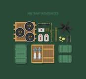Projeto liso dos recursos militares ilustração stock