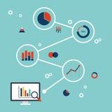 Projeto liso infographic da analítica dos dados comerciais Imagem de Stock