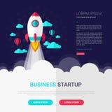 Projeto liso infographic Startup com ícone do foguete Ilustração do vetor ilustração do vetor