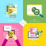 Projeto liso para o mercado móvel do serviço e da Web Foto de Stock