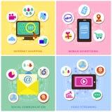 Projeto liso para os ícones do comércio eletrônico ajustados Fotos de Stock