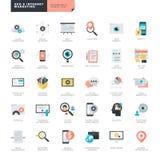 Projeto liso SEO e ícones do mercado do Internet para desenhistas do gráfico e da Web Fotos de Stock Royalty Free