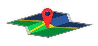 Projeto liso simples do mapa de GPS Ícone da navegação com pino vermelho e o mapa parcialmente dobrado ilustração do vetor