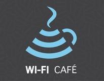 Projeto livre da ilustração do conceito da caneca de café do wifi Foto de Stock
