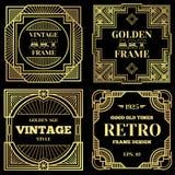 Projeto luxuoso do vetor do cartaz com quadros do ouro no estilo clássico velho do art deco ilustração stock