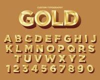 Projeto luxuoso dourado brilhante da tipografia ilustração stock