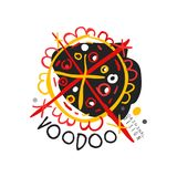 Projeto mágico do molde do logotipo do vudu colorido abstrato original Religião e cultura tradicionais Místico tirado mão ilustração royalty free