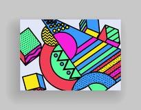 Projeto m?nimo das tampas Moldes do cartaz ajustados com formas geom?tricas abstratas, projeto liso do estilo brilhante de 80s me ilustração do vetor