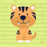 Projeto macio e cartaz da camisa das crianças t da cor do tigre pequeno bonito Fotografia de Stock Royalty Free