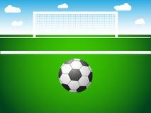 Projeto maravilhoso do campo de futebol com a bola sob a forma da parte traseira Foto de Stock
