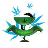 Projeto médico do copo do logotipo do conceito do cannabis dos cuidados médicos do vetor Imagem de Stock