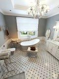 Projeto mediterrâneo do banheiro brilhante Foto de Stock