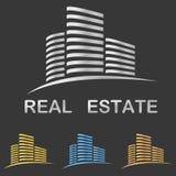 Projeto metálico do logotipo dos bens imobiliários Ilustração Stock
