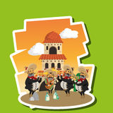 Projeto mexicano da cultura, ilustração do vetor Ícones de México Foto de Stock Royalty Free