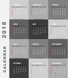 projeto minimalista de 2018 calendários ilustração royalty free