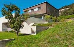 Projeto moderno da arquitetura, casa Fotos de Stock Royalty Free