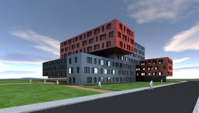 Projeto moderno da construção Fotografia de Stock Royalty Free
