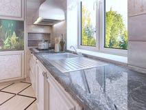Projeto moderno da cozinha Ecru coloriu armários Fotografia de Stock Royalty Free