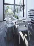 Projeto moderno da sala de jantar com cremalheira do vinho Fotos de Stock Royalty Free
