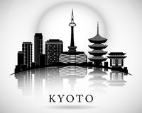Projeto moderno da skyline da cidade de Kyoto ilustração royalty free