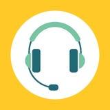 Projeto moderno do ícone da cor Fones de ouvido brilhantes do vetor com sinal do microfone Imagem de Stock