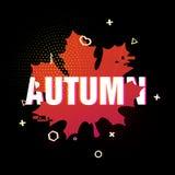 Projeto moderno do cartaz da queda da estação Texto do outono no fundo preto de uma silhueta colorida de uma folha de bordo decor Fotos de Stock