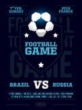 Projeto moderno do inseto dos esportes profissionais com liga de futebol no tema azul Fotos de Stock