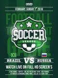 Projeto moderno do inseto dos esportes profissionais com liga de futebol no tema verde Imagens de Stock Royalty Free