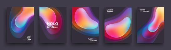Projeto moderno do molde de tampas Cores fluidas O grupo de inclinação holográfico na moda dá forma para a apresentação, comparti ilustração stock