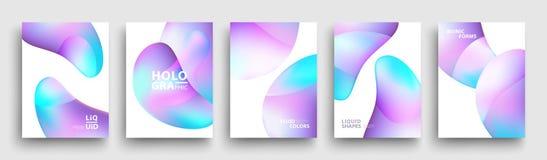 Projeto moderno do molde de tampas Cores fluidas O grupo de inclinação holográfico na moda dá forma para a apresentação, comparti ilustração do vetor