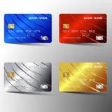 Projeto moderno do molde do grupo de cartão do crédito Com inspiração do sumário Ilustração do vetor Estilo plástico lustroso ilustração stock