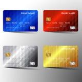 Projeto moderno do molde do grupo de cartão do crédito Com inspiração do sumário Ilustração do vetor Estilo plástico lustroso ilustração do vetor