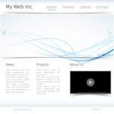Projeto moderno do Web site com tema azul da onda Fotos de Stock