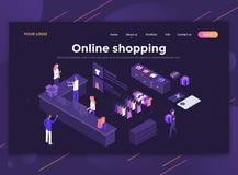 Projeto moderno liso do molde do Web site - compra em linha ilustração stock