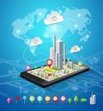 Projeto móvel das conexões dos ícones do mapa da navegação Imagens de Stock Royalty Free