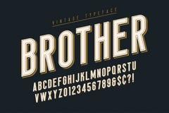 Projeto na moda da fonte da exposição do vintage, alfabeto, caráter tipo ilustração do vetor