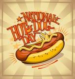 Projeto nacional do cartaz do vetor do dia de cachorro quente Imagens de Stock