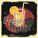 Projeto novo do sinal do cartaz do vintage da idade 50s do happy hour com um vidro Foto de Stock