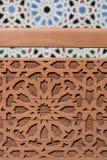 Projeto oriental, teste padrão árabe no fundo de madeira Imagem de Stock