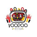 Projeto original do molde do logotipo mágico do vudu do estilo da criança s com cabeça e a decoração assustadores abstratas Mágic ilustração stock