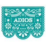 Projeto ou cartão do vetor de Papel Picado do Adios - adeus o papel da festão do partido cortou com flores e formas geométricas Imagem de Stock Royalty Free