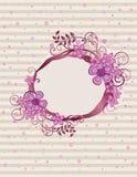 Projeto oval cor-de-rosa floral do frame Fotos de Stock Royalty Free