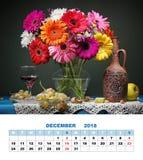 Projeto página calendário dezembro de 2018 Ainda vida com Transvaal a Dinamarca Imagens de Stock