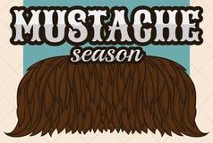 Projeto para a estação do bigode com a barba de cabelo densa, ilustração do vetor Fotografia de Stock