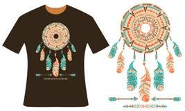 Projeto para seu t-shirt Dreamcatcher Foto de Stock