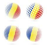 Projeto patriótico ajustado do vetor da bandeira de intervalo mínimo de Romênia ilustração royalty free