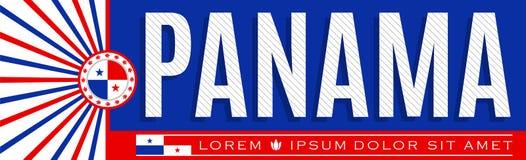 Projeto patriótico da bandeira de Panamá, ilustração tipográfica do vetor, cores panamenses da bandeira ilustração stock
