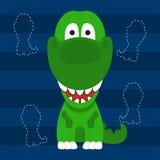 Projeto pequeno bonito e cartaz da camisa das crianças t da cor verde do rex de t Foto de Stock Royalty Free