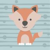 Projeto pequeno bonito e cartaz da camisa das crianças t da raposa Fotos de Stock